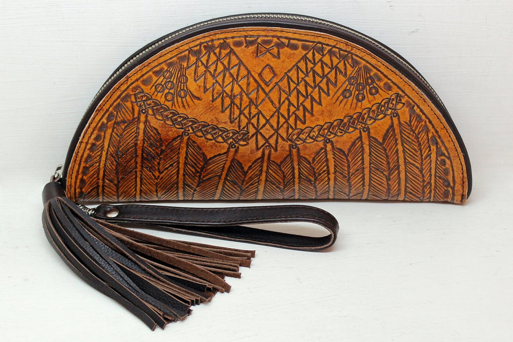 HAND TOOLED CLUTCH in Tribal Feathers. Western Vintage Hand Tooled Celestial