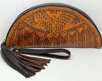 HAND TOOLED CLUTCH in Vintage Camel Tribal Feathers. Western Vintage Hand Tooled. Celestial