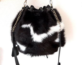 COWHIDE BAG / COWHIDE Purse / Leather Tote Bag in Black White