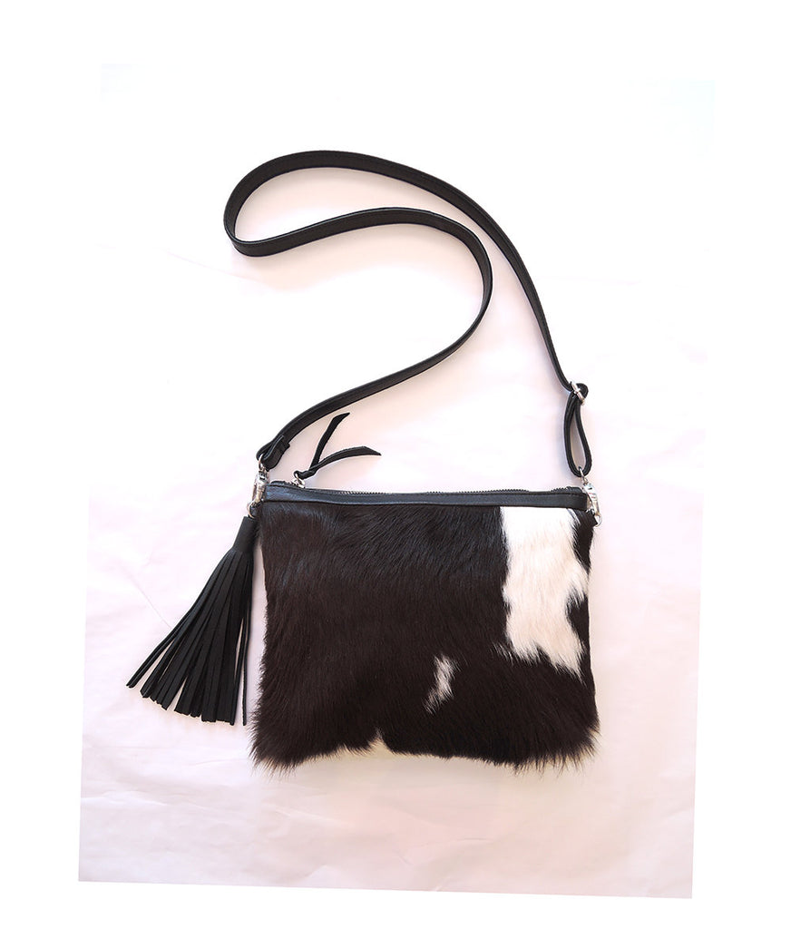COWHIDE PURSE BLACK White Brazil Calf Hair / CrossBody Bag Leather