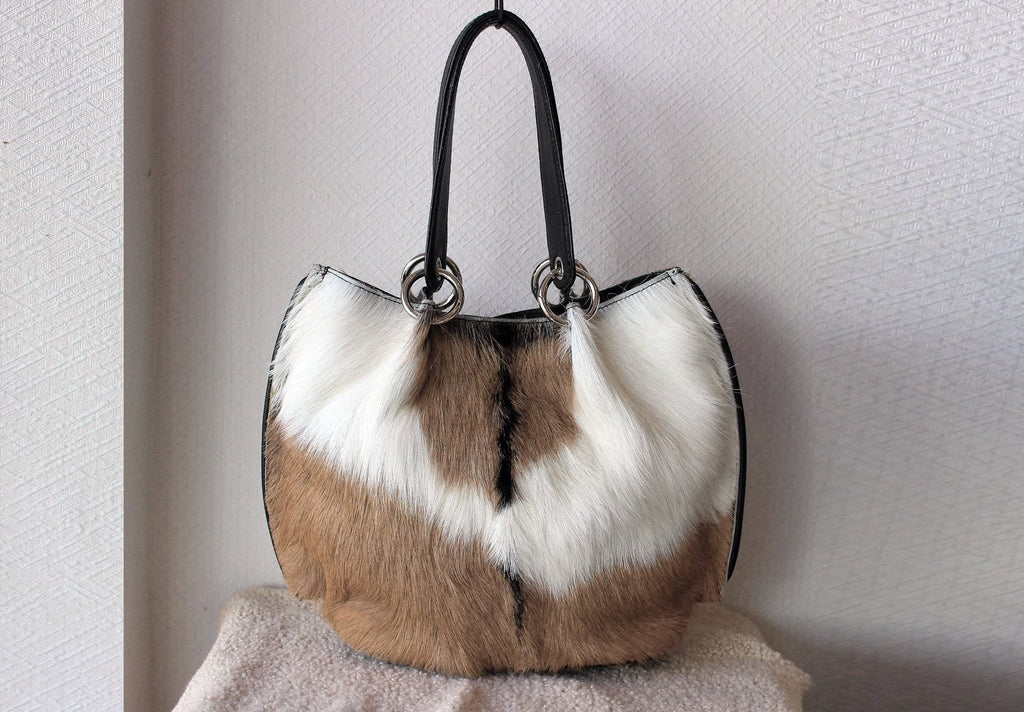 HAIR ON HIDE Bag, Brown White Cowhide Tote, Small Purse, Brown Fur Purse. Claire Bag