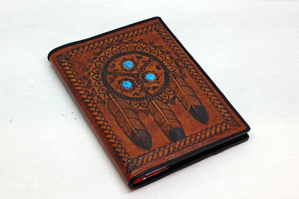 LEATHER JOURNAL BOOK Cover W / Turquoise Stones.