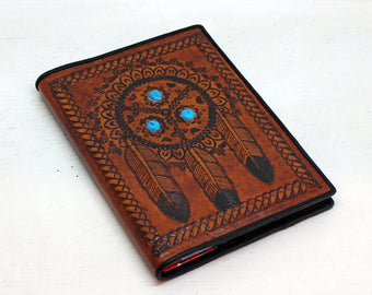 LEATHER JOURNAL BOOK Cover / Turquoise Hand Tooled in Tribal Feather