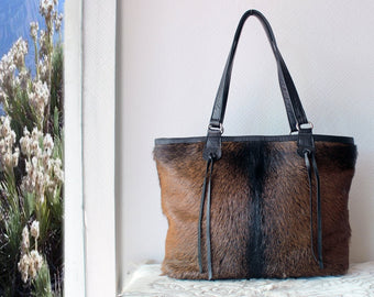 BROWN COWHIDE BAGS, Cowhide Shoulder Bag, Tote Bag, Cowfur Bag