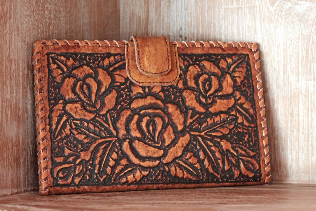 HAND TOOLED LEATHER Wallet w/ Rose carving Passport & Credit Card Slots
