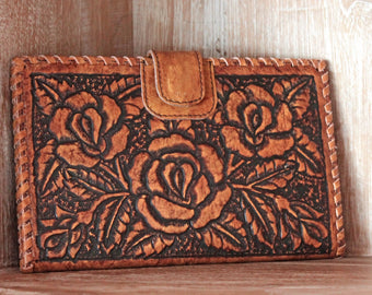 HAND TOOLED LEATHER Wallet w/ Rose carving Passport & Credit Card Slots. Antique Wallet