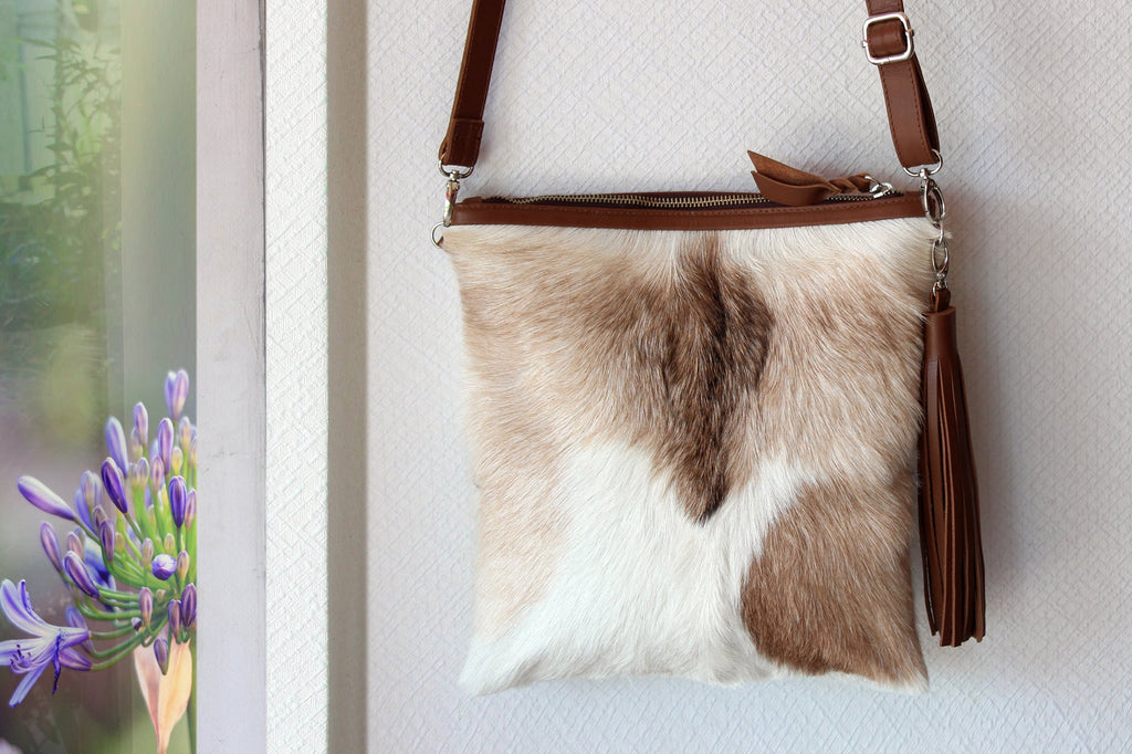 COWHIDE PURSE, 2 in 1 COWHIDE Clutch opens into Brown White Hair