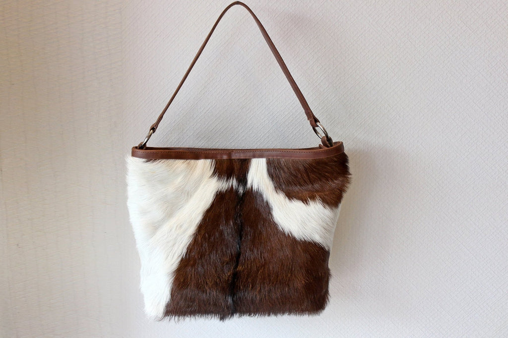 BROWN WHITE COWHIDE Bag, Hair On Hide Bag, Brown Leather