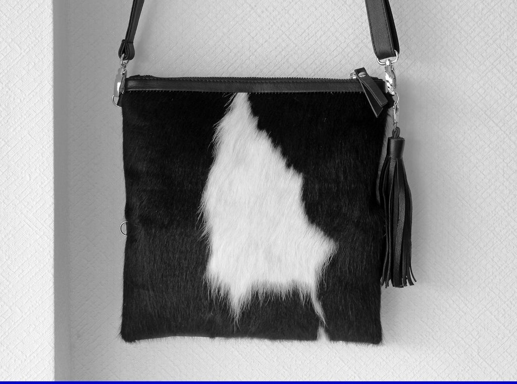 BLACK WHITE COWHIDE Purse, Folds into a Clutch Bag, Country Western Bag