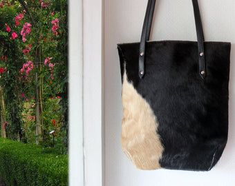 COWHIDE on HAIR BAGS, Black and Cream Bag, Both Side Hide hair
