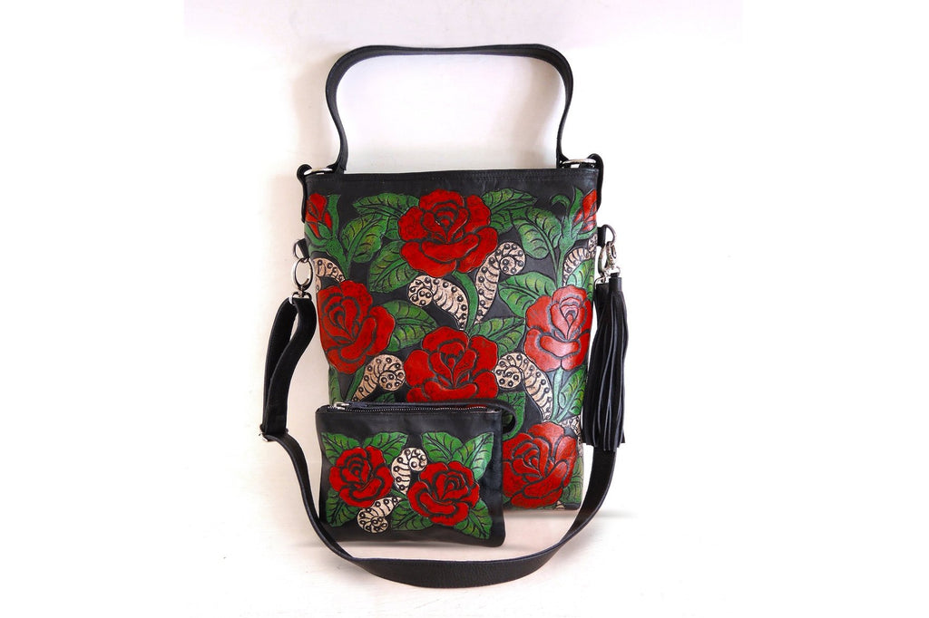 TOOLED LEATHER BAG, Rose Purse, Hand Painted Bag, Black Leather w/ Hand Carved Florals Tote