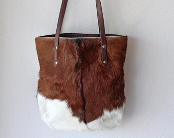 BROWN WHITE HAIR HIDE TOTE