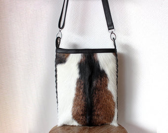 BROWN LEATHER COWHIDE BAG