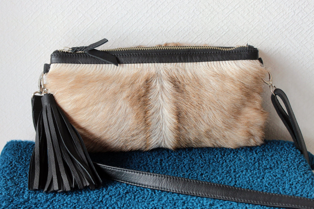 COWHIDE PURSE, 2 in 1 Clutch Bag Cream Cowhide Bag, Hair on Hide.