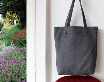 GREY TOTE BAG, Gray Suede Bag, Grey Leather Shoulder Bag, Handmade Weave Bag
