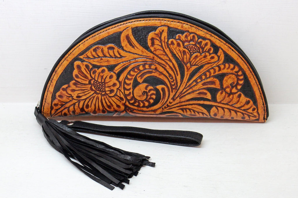 TOOLED LEATHER PURSE. Floral Clutch, Artisan Leather Purse, Handmade/Tooled Wallet