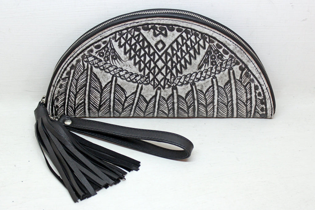 HAND TOOLED CLUTCH, Tribal Feather Vintage White Bag. Western Purse, Celestial