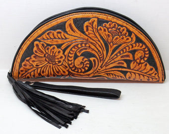 TOOLED LEATHER PURSE Vintage Camel, Hawaii Clutch. Handmade Wallet, 70's Bohemian Purse Celestial