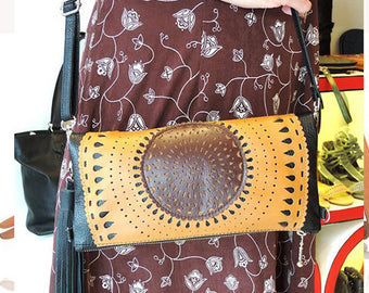 CROSSBODY LEATHER BAG / Folds Into Clutch / Ipad Bag, Hand Tooled