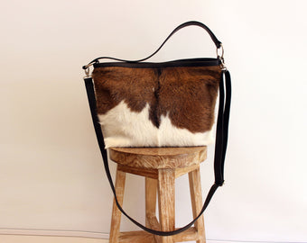 COWHIDE LEATHER TOTE, Western Purse, Pony Hair Bag, Cowgirl Leather Bag. Patty Bag