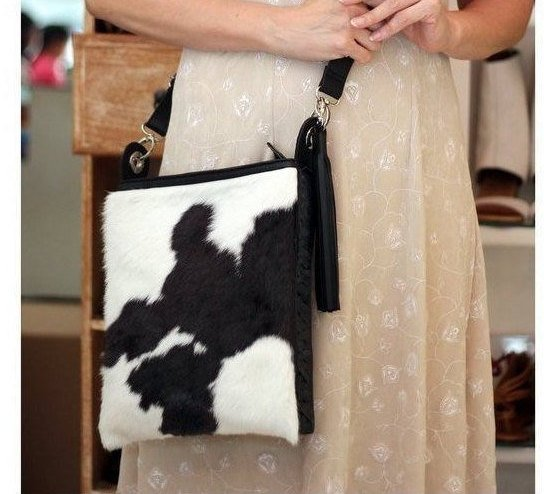 COWHIDE BAG CROSSBODY Unisex in Black White Calf Hair