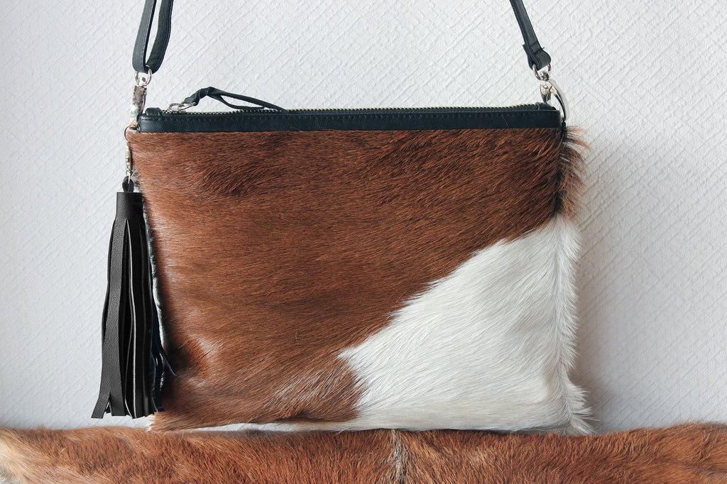 BROWN WHITE Cowhide Purse, Small Cowhide Clutch, Hair on Hide Purse