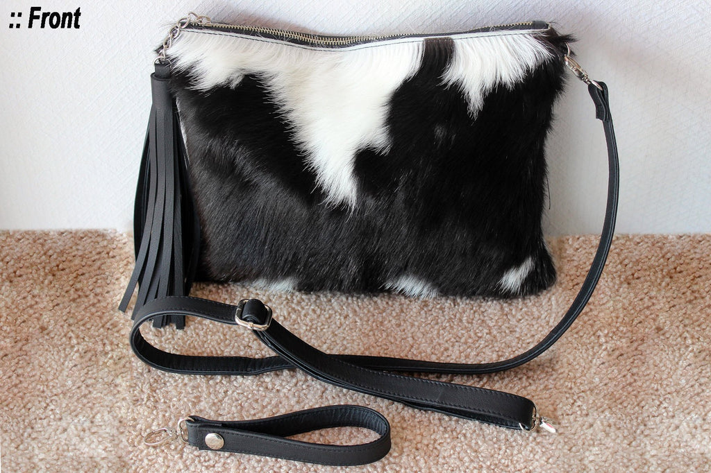 FULL COWHIDE PURSE, CowHide Leather Bag, Black White Brazilian Hide Hair Bag