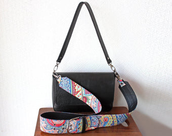 LEATHER CROSSBODY BAG, Black Small Purse with Paisley Strap