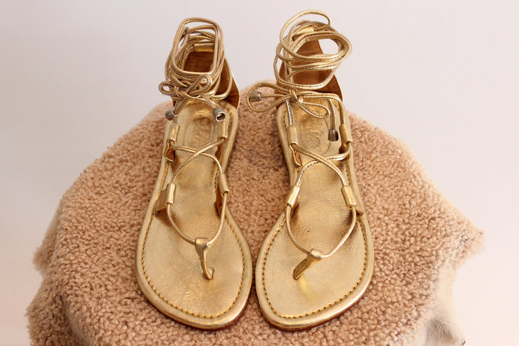 GOLD LEATHER SANDALS, Bohemian Sandals, Lace Up Sandals. Flat Sandals,