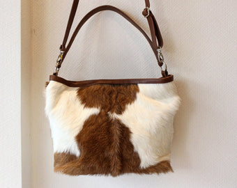 COWHIDE PURSE, Hair on Hide Bag, Brown Cowboy Western Purse