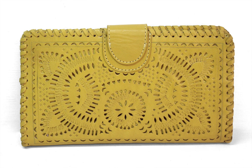 afc8e884cdc4 TOOLED LEATHER WALLET Yellow Clutch, Hand Carved & Tooled Purse w/ Multiple  Card Slots