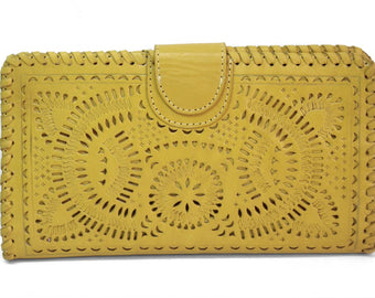 TOOLED LEATHER WALLET Yellow Clutch, Hand Carved & Tooled Purse w/ Multiple Card Slots
