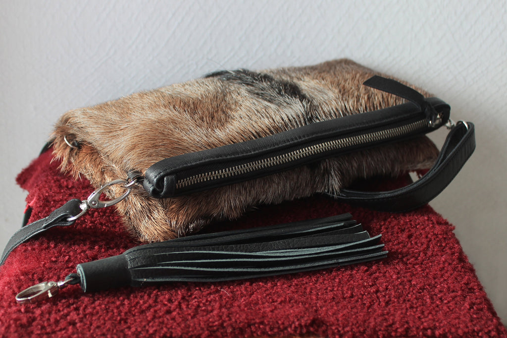 BROWN COW FUR PURSE