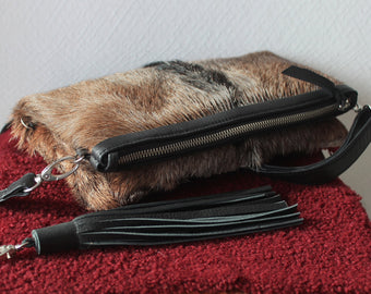 COW FUR PURSE, Clutch Bag in Brown Black Cowhide, 1 of a Kind Purse with Tassel