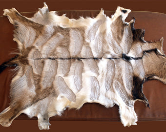 Natural Hair on Hide Goat Leather, Beige Hand Carved Feathers, Tribal Rug Decoration