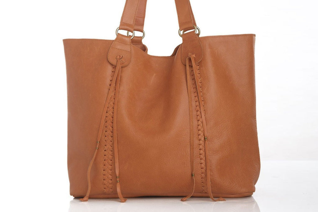 TAN WEEKENDER BAG Tan Leather Laptop Bag w/ Hand Weave Trim & Tassels