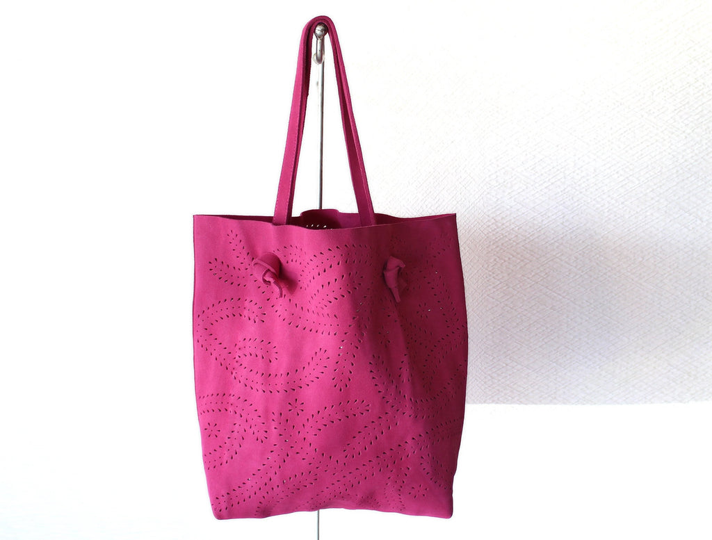 EVERYDAY MARKET BAG in Pink Suede Leather. Handcrafted Suede Leather Bag, Personalised Tote Bag, Handmade Bags, Diaper Handbag, Gift For Her