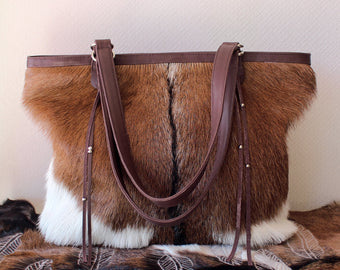 BROWN WHITE COWHIDE Bags, Hair on Hide Bucket Bag, Cowhide Western Tote Bag, Cowhide on Hair Bags, Cowhide Weekender Bag, Cow Fur Brown Bag