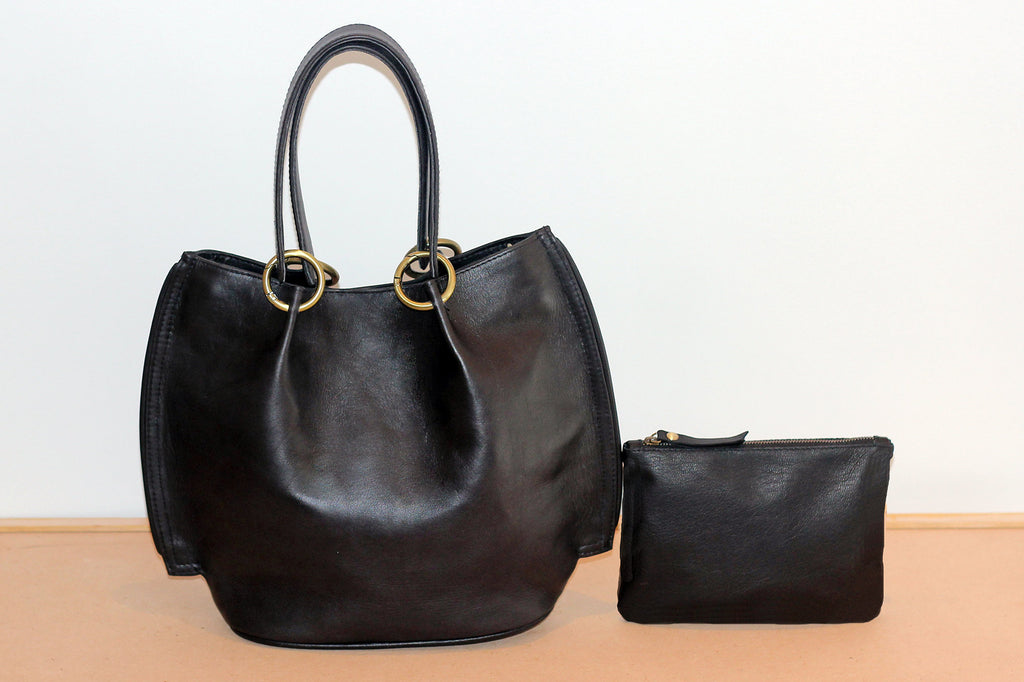 BLACK COW LEATHER TOTE CrossBody, Golden Accessories, w/ Free Pouch!