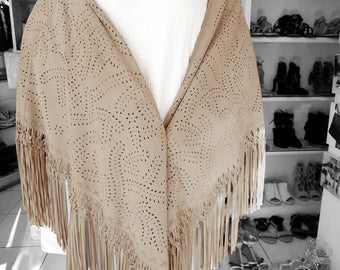 CREAM LEATHER SCARF Shawl w/ HandTooled Autumn Fall Leaf Design. Suede Wrap w/ Hand Weave Intricate Tassel Trim. Best selling items.