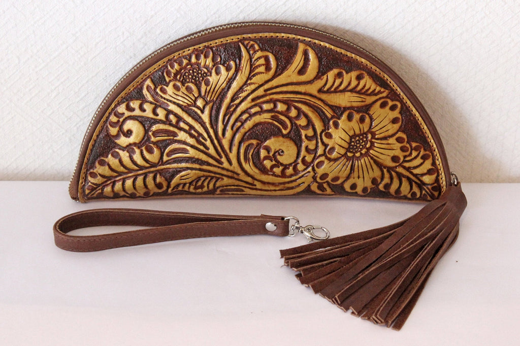 VINTAGE LEATHER PURSE With Hand tooled Floral, Custom Handmade Purse. Celestial.