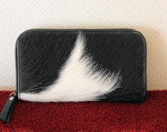 BLACK WHITE COWHIDE WALLET
