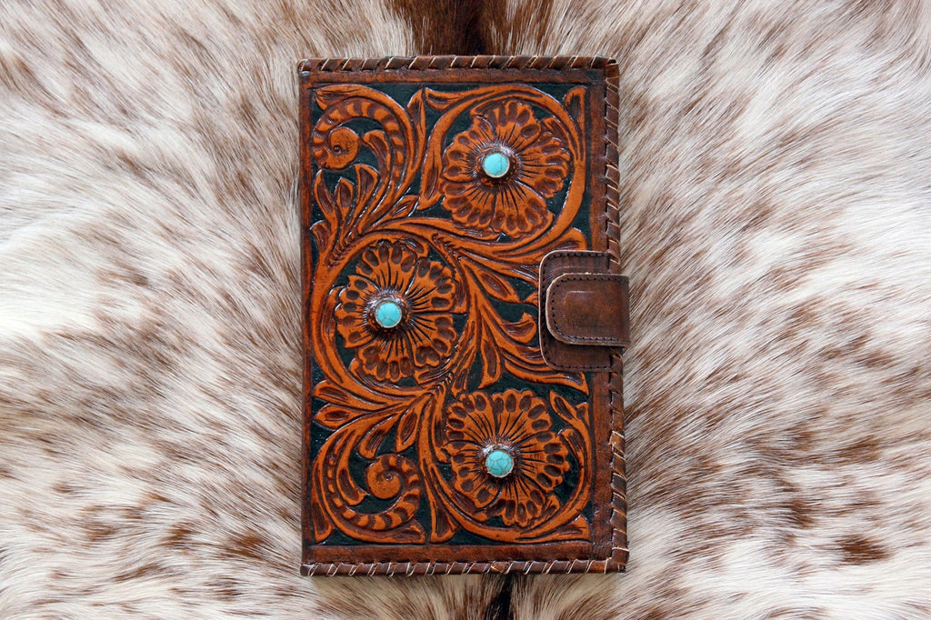 HANDTOOLED LEATHER WALLET, TURQUOISE STONES