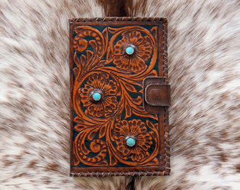 TOOLED LEATHER WALLET in Hand Crafted Hibiscus w/ Turquoise Stones. Vintage Tan Clutch Multiple Card Slots, Passport Wallet Magnet Closure