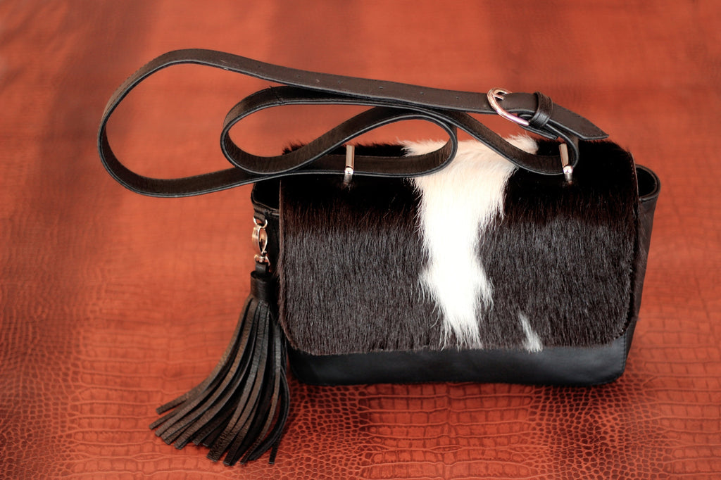 BLACK WHITE COWHIDE Purse w/ Tassels, Pony Hair.