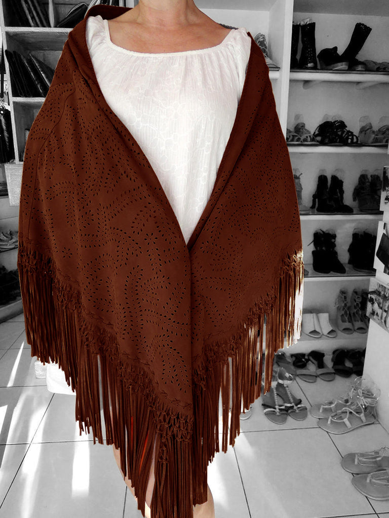 COWBOY BROWN LEATHER Shawl w/ HandTooled Autumn Fall Leaf Design. Suede Wrap w/ Hand Weave Intricate Tassel Trim. Best selling items..