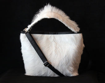 WHITE FUR LEATHER Bag, Hair on Goat Leather Handbags, Crossbody Bag, Designer Sling Bag, Cowhide Tote Bag with Zipper Closure. Birthday Gift