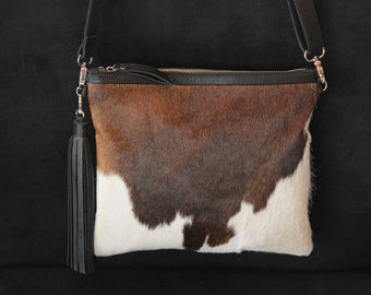 MESSENGER BAG WOMEN in Brown White Cowhide Leather, Crossbody Bag, Handmade in Bali, Personalized Bag, Gift For Women, Minimalist Bag