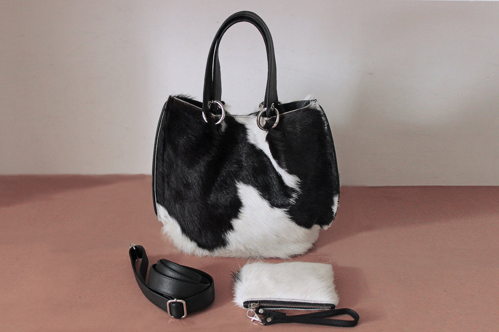 BLACK WHITE BRAZILIAN COWHIDE BAG