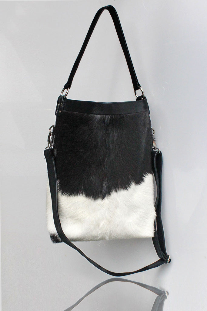 Daniella Bag in Cow Hide. Mother's Day Gift. Black White Tote Bag